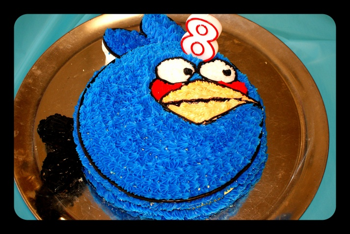 The twins asked for matching Angry Bird birthday cakes, so I made 6 cakes in a matter of a week.  Two blue, three red, and one yellow Angry Bird.  This was my fave -- a lemon cake, even though I am a chocolate girl!