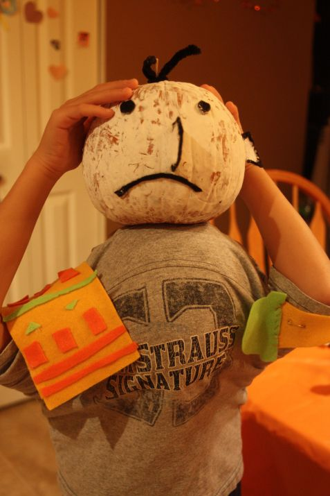 M wearing the pumpkin head we made -- Diary of a Wimpy Kid's Greg Heffley